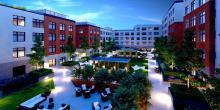 Second & Delaware Passive Building Project - Courtyard Rendering