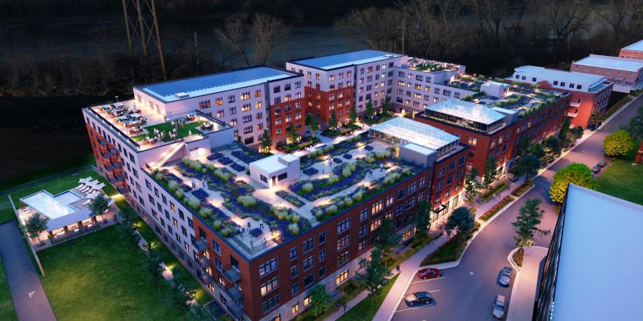 Second & Delaware Passive Building Project Aerial Rendering