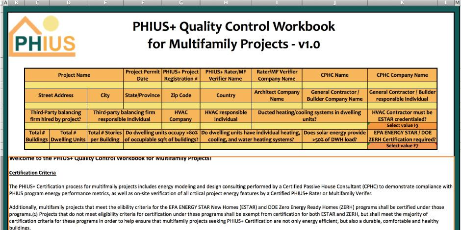 PHIUS+ QAQC Multifamily Checklist